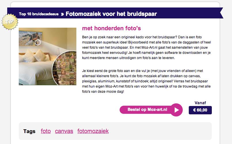Advertentie fotomozaiek moz-art.nl eenkadovoor