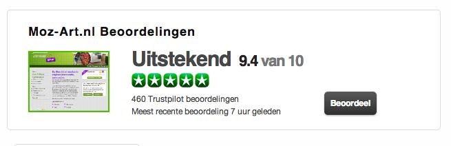 Fotomozaiek moz-art.nl. Een score van 9.4 op Trustpilot